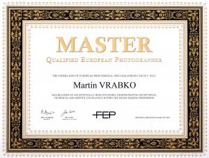 Martin Vrabko Master QEP Certificate